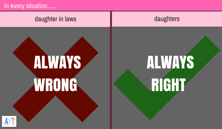 And you thot daughters and daughter-in-laws are treated equally