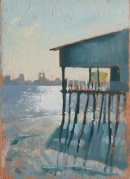 "Clan Jetty House - 6x8"" - Oil on panel"
