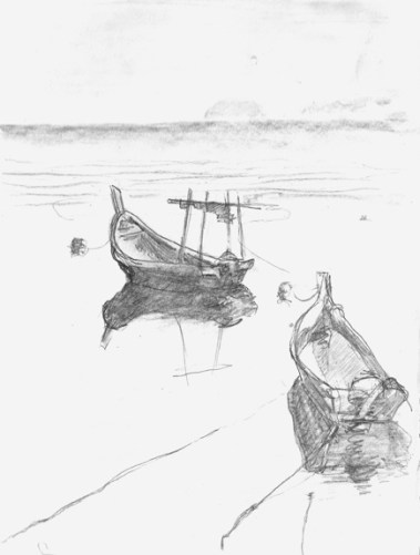 "Dawn Fishing Boats - 6x8"" - pencil"