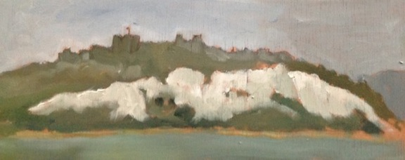 "Fair Dover Castle - 5x12"" - Oil on panel."