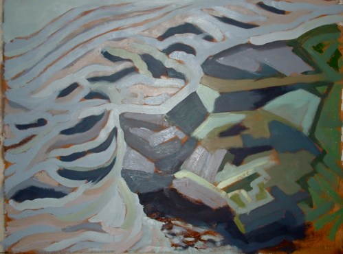 "Dyfi Rocks 4 - 45x62"" - Oil on canvas"