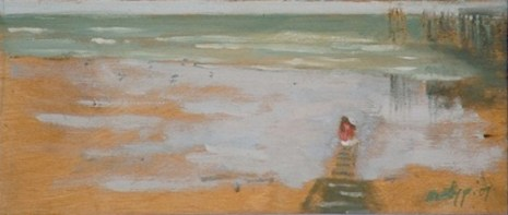"Red Flag/Summer Holiday 2/2 - 5x12"" - Oil on panel"