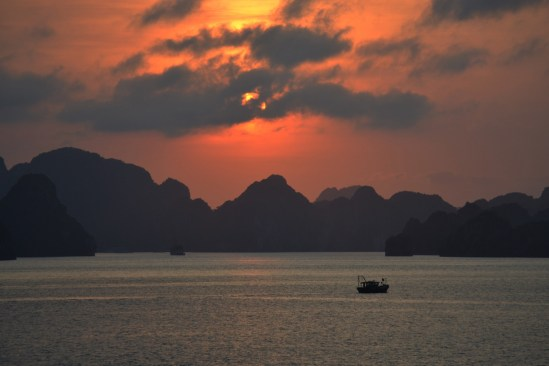 Sunset at Halong Bay. A fitting time to propose (and she said yes, too!).