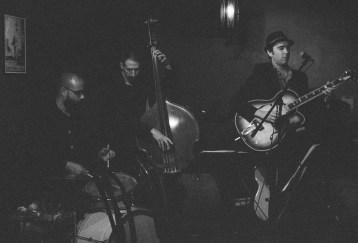 Andy Pratt Trio. Joe Policastro (bass) & Mikel Avery (drums). Photo by Stephen Lowell Swanberg.
