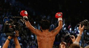 LAS VEGAS, NEVADA - APRIL 09: Manny Pacquiao celebrates after defeating Timothy Bradley Jr. by unanimous decision in their welterweight championship fight on April 9, 2016 at MGM Grand Garden Arena in Las Vegas, Nevada. (Photo by Christian Petersen/Getty Images)