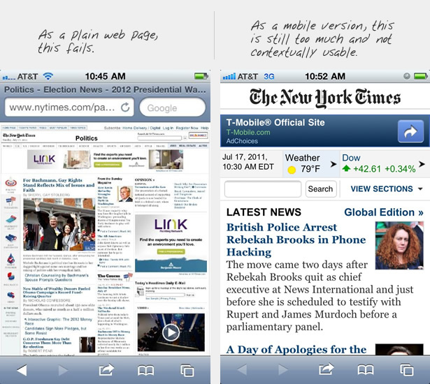 NYT site and mobile site