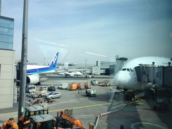 My plane creepily eyeing the ANA 777, probably out of your league buddy