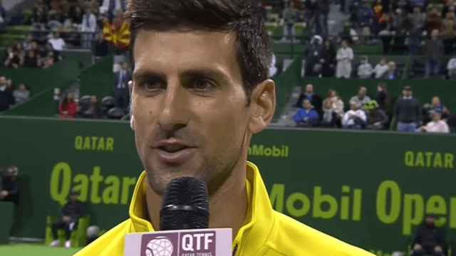 Announcer Andy Taylor. Tennis Interviews. Doha 2016. Qatar ExxonMobil Open Trophy Presentation