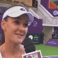 Announcer Andy Taylor. Tennis Interviews. Doha 2015. Agnieszka Radwanska