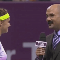 Announcer Andy Taylor. Tennis Interviews. Doha 2015. Trophy Presentation