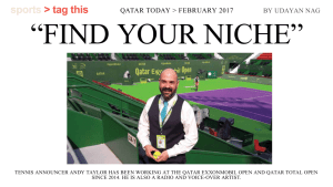 Andy Taylor. Announcer. Qatar Today. Find Your Niche