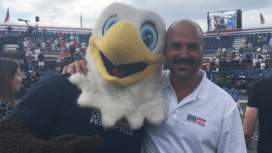 Andy Taylor and US Team Mascot ACE. Kenny Siebold always lights it up for fans.