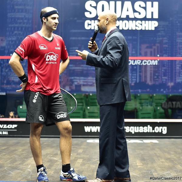 Andy Taylor. Announcer. Qatar Classic Squash Championship. Day 2. Round 1. Simon Rösner