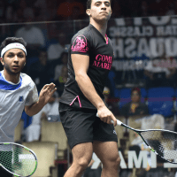 Andy Taylor. Squash Emcee. Qatar Classic Squash Championship. Day 1. Round 1. Fares Dessouky
