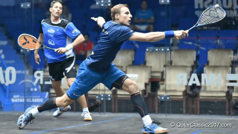 Andy Taylor. Sports Emcee. Qatar Classic Squash Championship. Day 2. Round 1. Nick Matthew