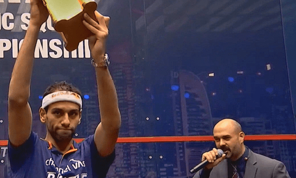 Andy Taylor. Sports Emcee. Qatar Classic Squash Championship. Day 6. Championship Match. Mohamed ElShorbagy
