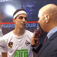 Announcer Andy Taylor. Squash Interviews. Doha 2018. Ali Farag