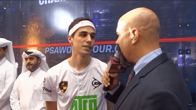 Announcer Andy Taylor. Squash Interviews. Doha 2018. Ali Farag