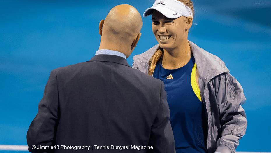 Host Andy Taylor. Qatar Total Open 2018. Quarterfinal. Day-5. Caroline Wozniacki