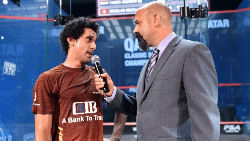 Andy Taylor Announcer 2018 Qatar Classic Round 2 Victory Tarek Momen