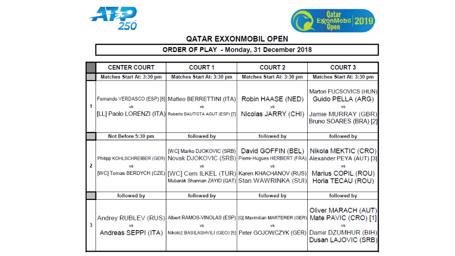 Tennis Emcee Andy Taylor. Qatar ExxonMobil Open 2019. Day-1 Round-1 Schedule