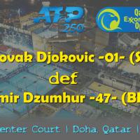 Emcee Andy Taylor. Qatar ExxonMobil Open 2019. Day 2. Round 1. Match 3. Djokovic def Dzumhur