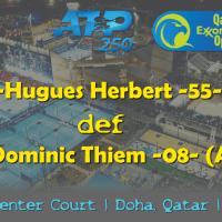 Host Andy Taylor. Qatar ExxonMobil Open 2019. Day 2. Round 1. Match 4. Herbert def Thiem