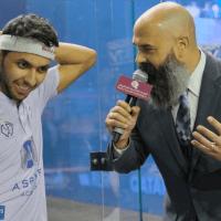Andy Taylor Announcer. 2019 PSA Mens World Championship. Round 2. Abdulla Al Tamimi Success