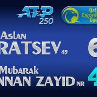 Announcer Andy Taylor. Qatar ExxonMobil Open 2021. Round 1 Aslan Karatsev defeats Mubarak Shannan Zayid
