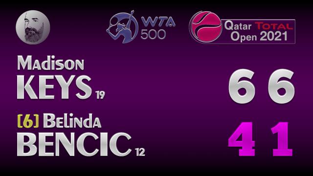 Announcer Andy Taylor. Qatar Total Open 2021. Round 1 Madison Keys defeats Belinda Bencic