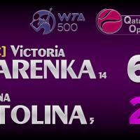 Announcer Andy Taylor. Qatar Total Open 2021. Quarterfinal Victoria Azarenka defeats Elina Svitolina