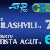 Announcer Andy Taylor. Qatar ExxonMobil Open 2021. Final Nikoloz Basilashvili defeats Roberto Bautista Agut