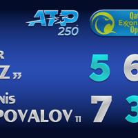 Announcer Andy Taylor. Qatar ExxonMobil Open 2021. Quarterfinal Taylor Fritz defeats Denis Shapovalov
