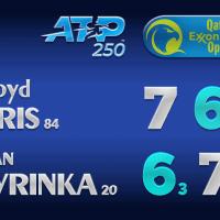Announcer Andy Taylor. Qatar ExxonMobil Open 2021. Round 1 Lloyd Harris defeats Stan Wawrinka
