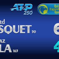 Announcer Andy Taylor. Qatar ExxonMobil Open 2021. Round 1 Richard Gasquet defeats Blaz Rola