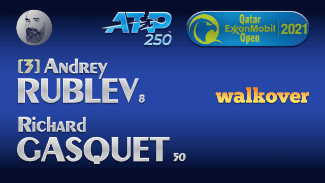 Announcer Andy Taylor. Qatar ExxonMobil Open 2021. Round 2 Andrey Rublev walkover Richard Gasquet