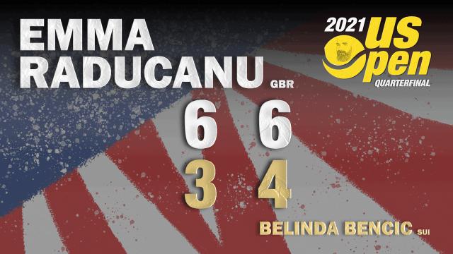 Announcer Andy Taylor. 2021 US Open. Quarterfinals. Emma Raducanu defeats Belinda Bencic