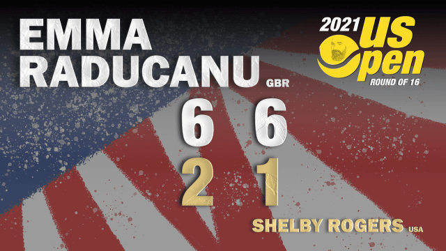 Announcer Andy Taylor. 2021 US Open. Round-4. Emma Raducanu defeats Shelby Rogers
