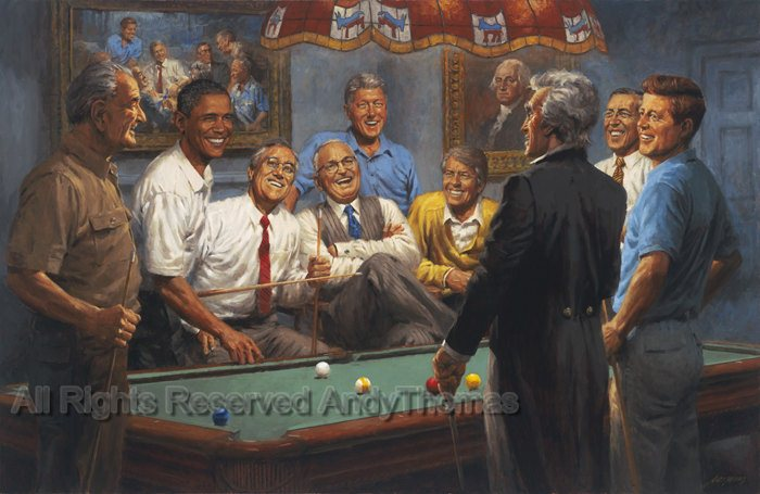 Callin The Red Democratic Presidents Playing Pool Fine Art - Pool table painting