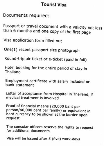 Tourist Visa Thailanda