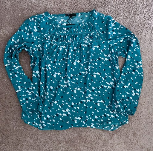Gibson Print Ruched Long Sleeve Blouse