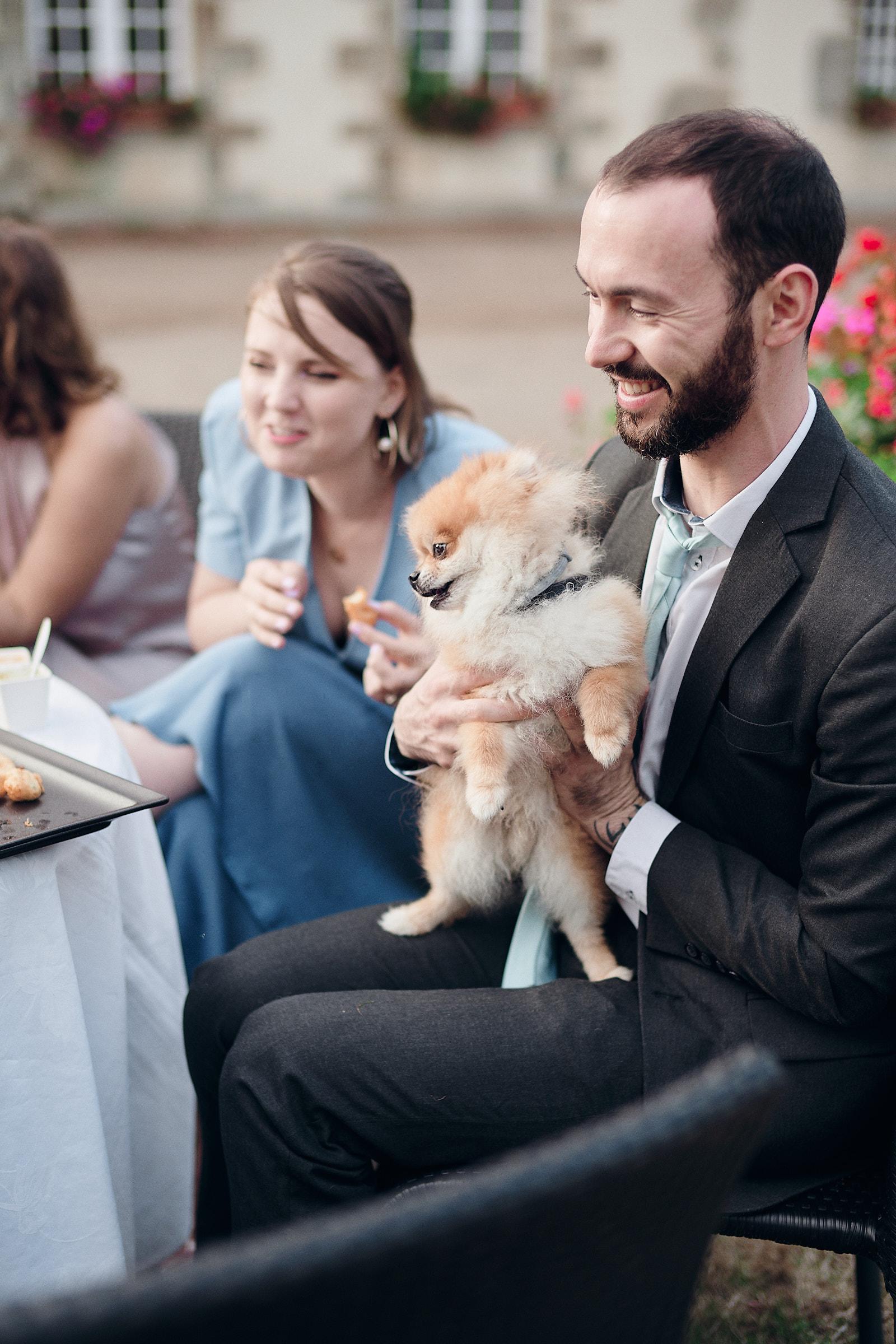 chien d'un invite pendant le vin d'honneur
