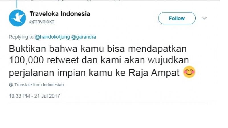 Traveloka Janjikan Hadiah Tiket ke Raja Ampat Jika Pria Ini Kumpulkan 10.000 Tweet
