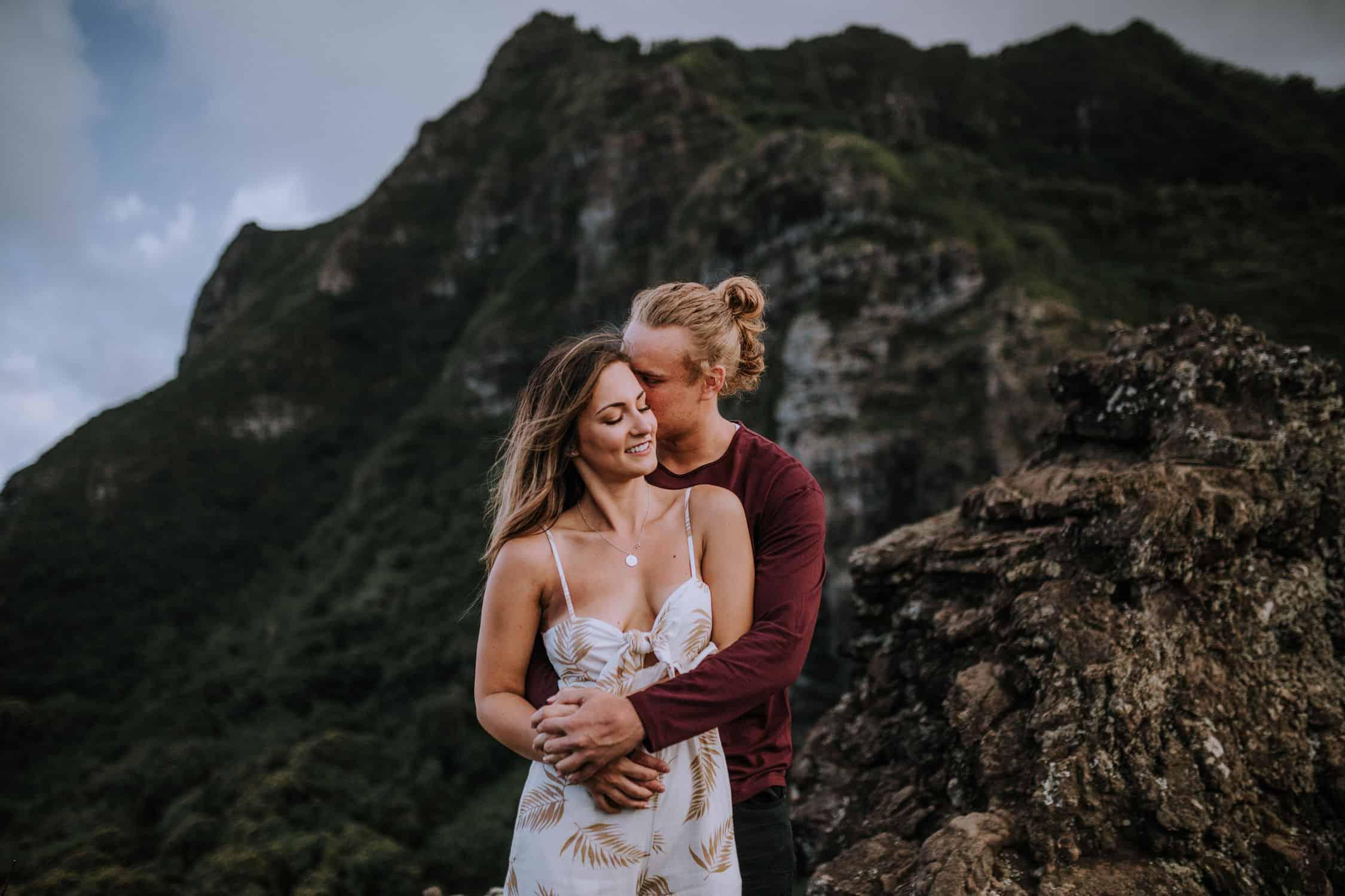 Adventurous mountain top engagement session hawaii by Anela Benavides