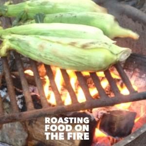 Roasting food on the fire photo