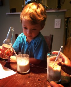 Making root beer floats with kids