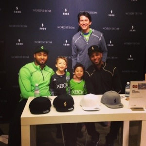 kj wright and Golden Tate at Sodo Apparel at Nordstrom downtown store