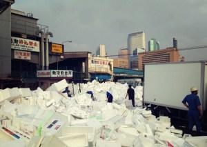 styrofoam mountain at tsukiji market