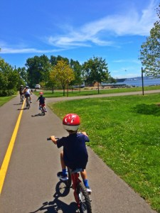 riding along the waterfront bike path between centennial park and myrtle edwards park