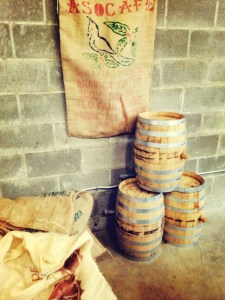 coffee barrels and bags